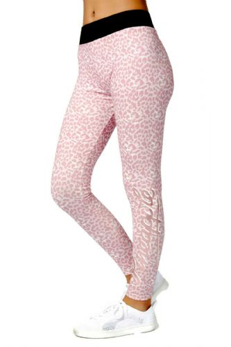 PINEAPPLE DANCEWEAR Girls Dance Leggings Pink Animal Print Rose Gold Logo